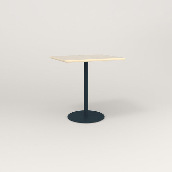 RAD Cafe Table, Rectangular Weighted Base in solid ash and navy powder coat.