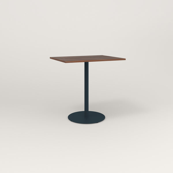 RAD Cafe Table, Rectangular Weighted Base in slatted wood and navy powder coat.