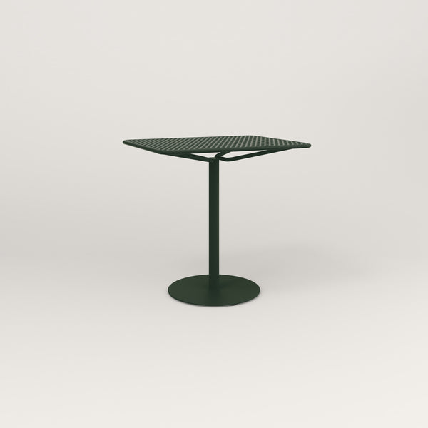 RAD Cafe Table, Rectangular Weighted Base in perforated steel and fir green powder coat.