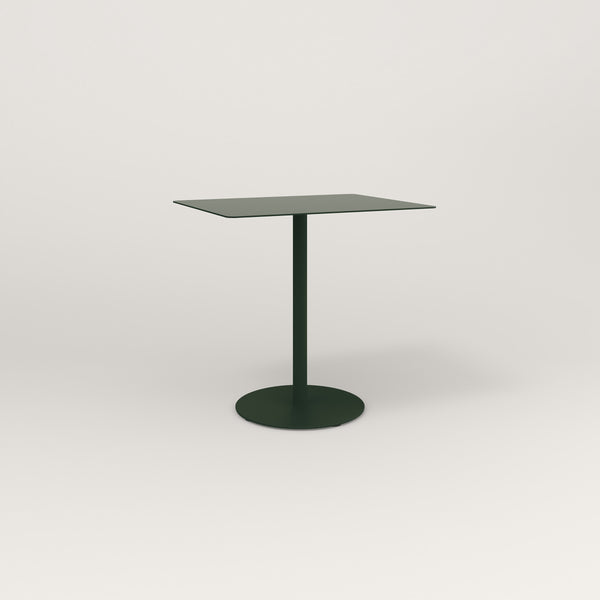 RAD Cafe Table, Rectangular Weighted Base in aluminum and fir green powder coat.