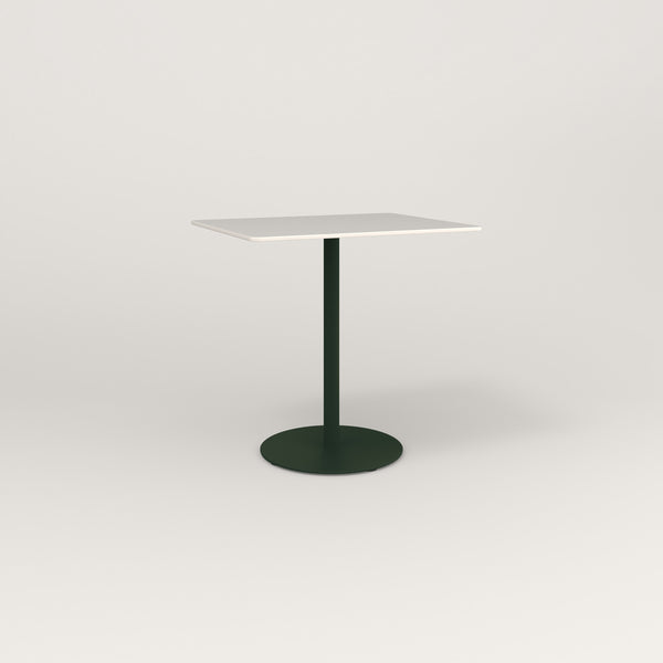 RAD Cafe Table, Rectangular Weighted Base in acrylic and fir green powder coat.