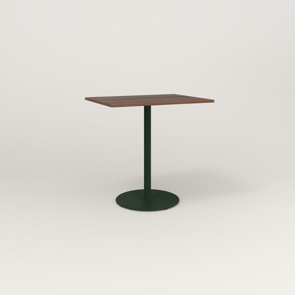 RAD Cafe Table, Rectangular Weighted Base in slatted wood and fir green powder coat.