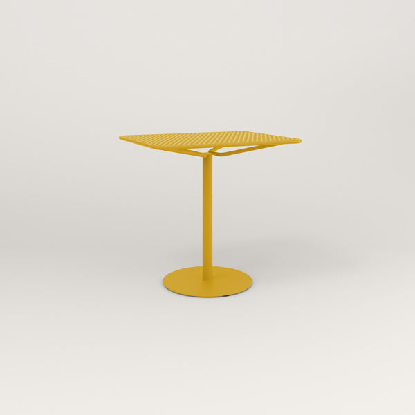 RAD Cafe Table, Rectangular Weighted Base in perforated steel and yellow powder coat.