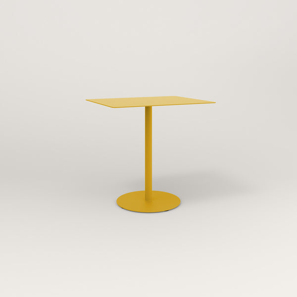 RAD Cafe Table, Rectangular Weighted Base in aluminum and yellow powder coat.