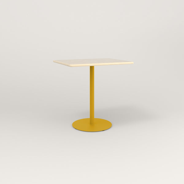 RAD Cafe Table, Rectangular Weighted Base in solid ash and yellow powder coat.