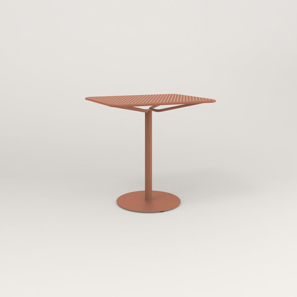 RAD Cafe Table, Rectangular Weighted Base in perforated steel and coral powder coat.