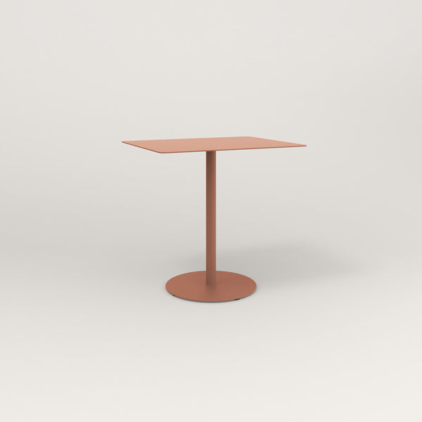 RAD Cafe Table, Rectangular Weighted Base in aluminum and coral powder coat.