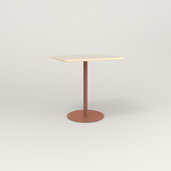 RAD Cafe Table, Rectangular Weighted Base in solid ash and coral powder coat.