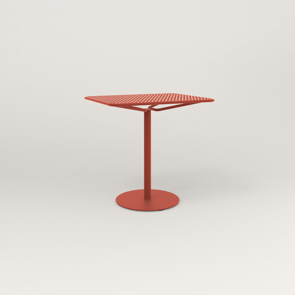 RAD Cafe Table, Rectangular Weighted Base in perforated steel and red powder coat.