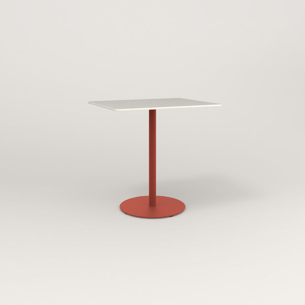 RAD Cafe Table, Rectangular Weighted Base in acrylic and red powder coat.