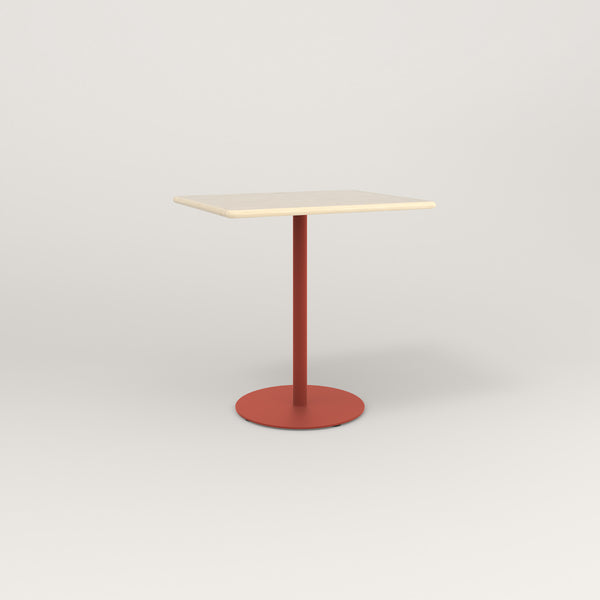 RAD Cafe Table, Rectangular Weighted Base in solid ash and red powder coat.