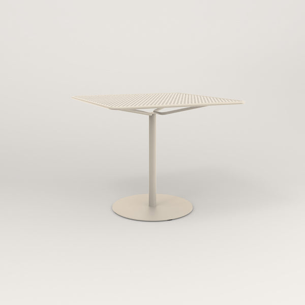 RAD Cafe Table, Rectangular Weighted Base in perforated steel and off-white powder coat.