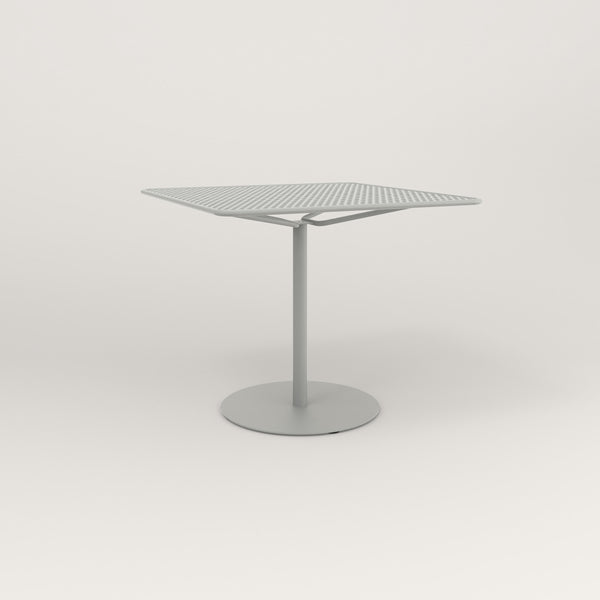 RAD Cafe Table, Rectangular Weighted Base in perforated steel and grey powder coat.