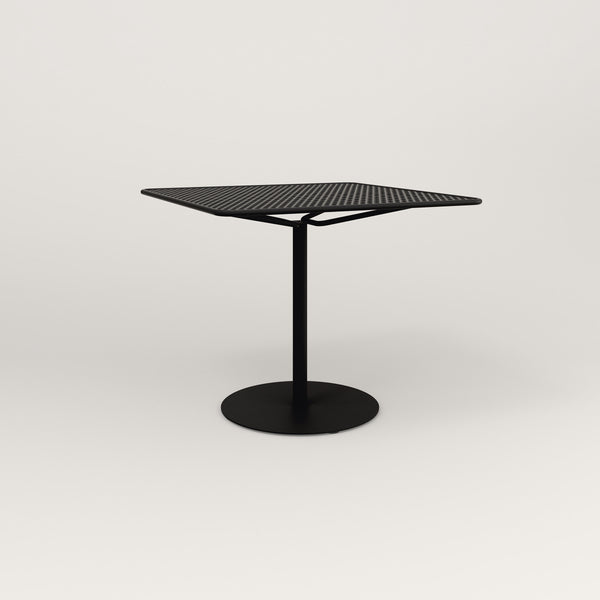 RAD Cafe Table, Rectangular Weighted Base in perforated steel and black powder coat.