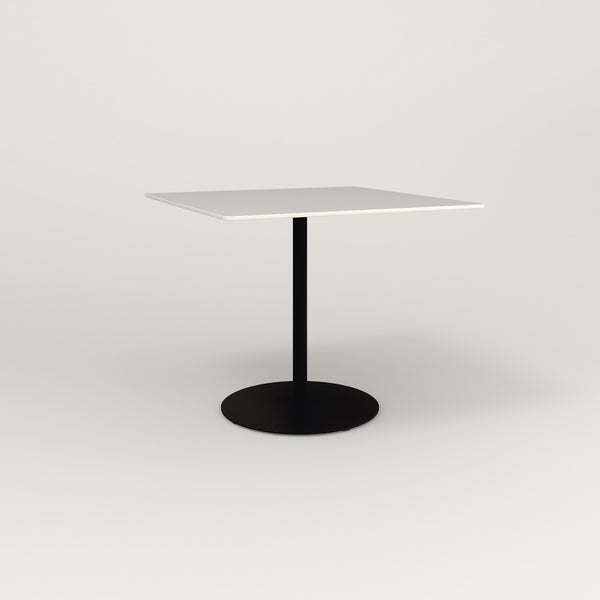 RAD Cafe Table, Rectangular Weighted Base in acrylic and black powder coat.