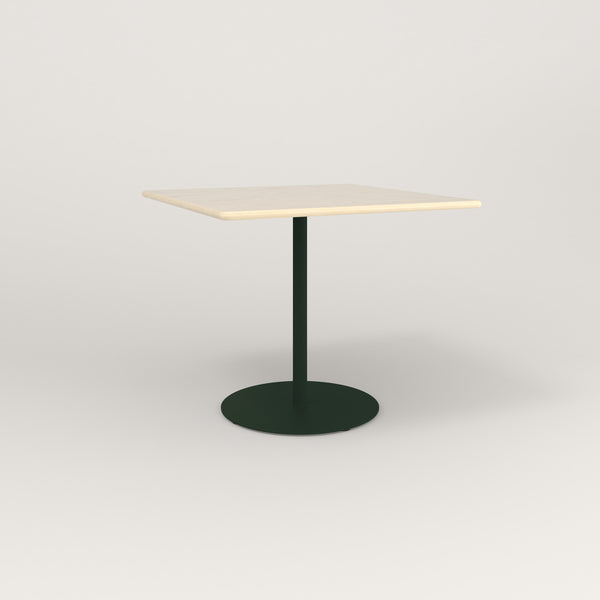 RAD Cafe Table, Rectangular Weighted Base in solid ash and fir green powder coat.