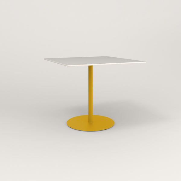 RAD Cafe Table, Rectangular Weighted Base in acrylic and yellow powder coat.