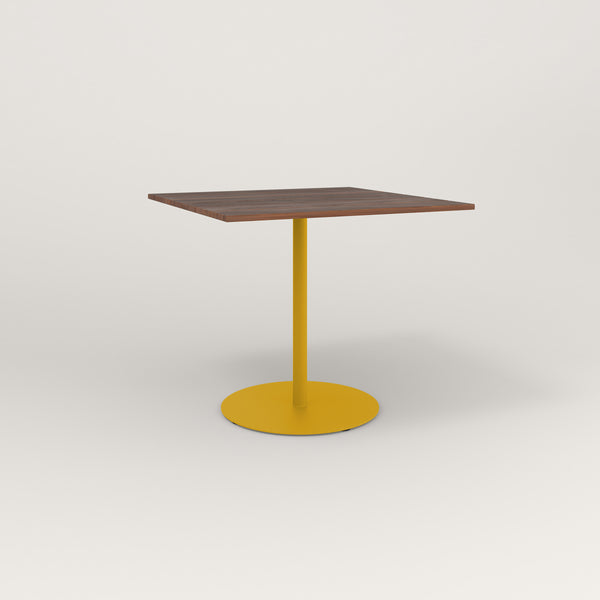 RAD Cafe Table, Rectangular Weighted Base in slatted wood and yellow powder coat.