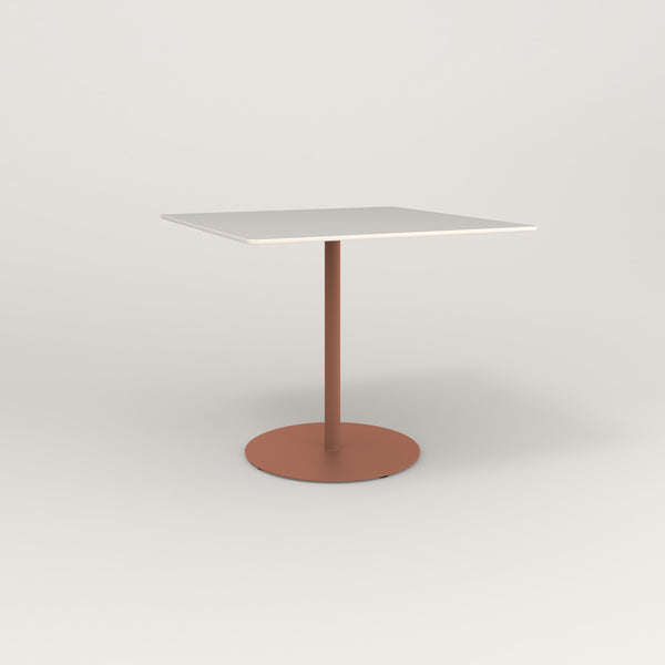 RAD Cafe Table, Rectangular Weighted Base in acrylic and coral powder coat.