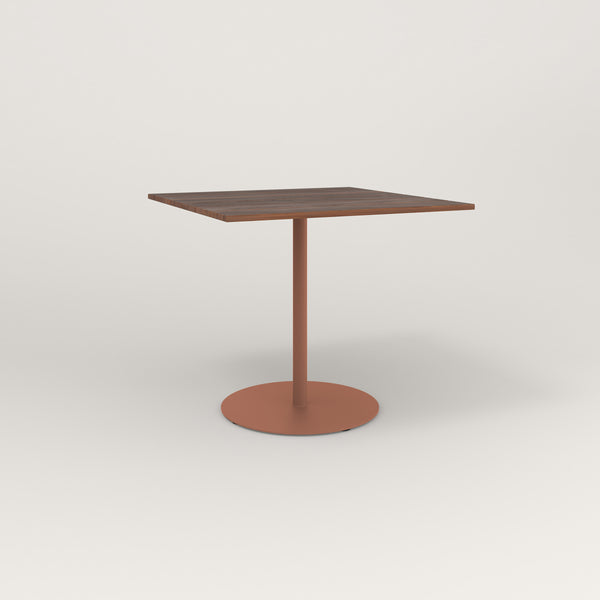 RAD Cafe Table, Rectangular Weighted Base in slatted wood and coral powder coat.