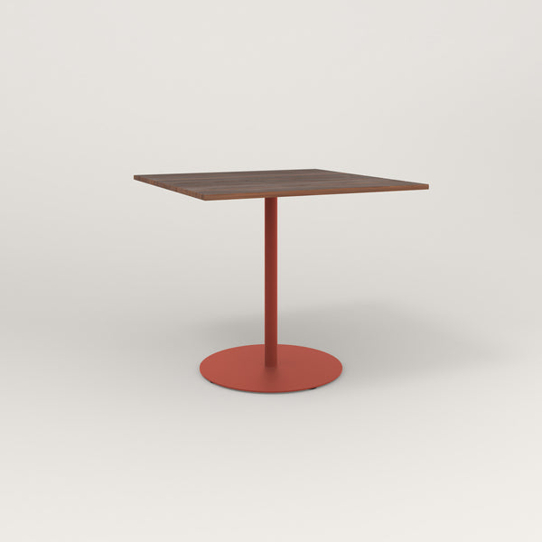 RAD Cafe Table, Rectangular Weighted Base in slatted wood and red powder coat.