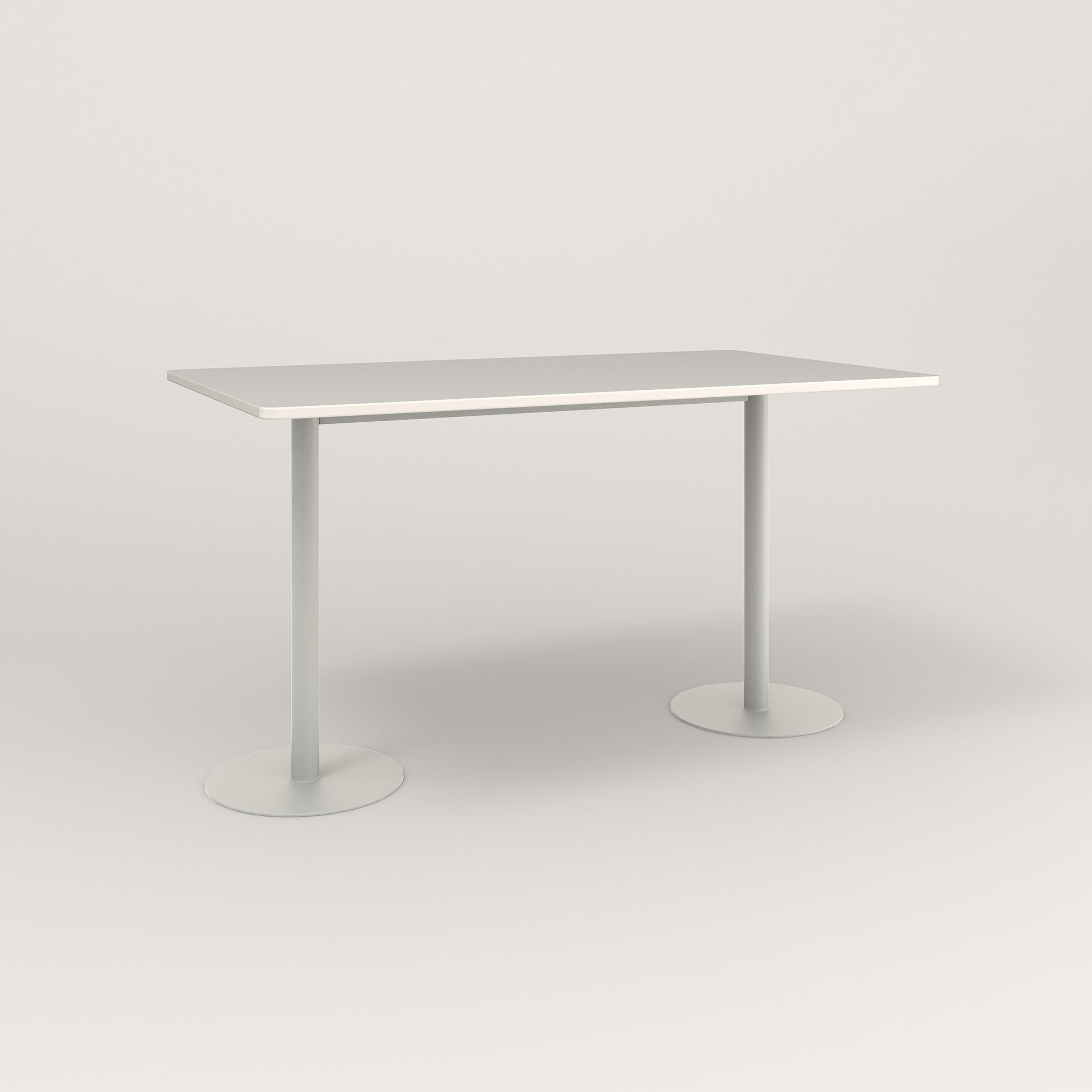 RAD Cafe Table, Rectangular Weighted Base T Leg in acrylic and white powder coat.