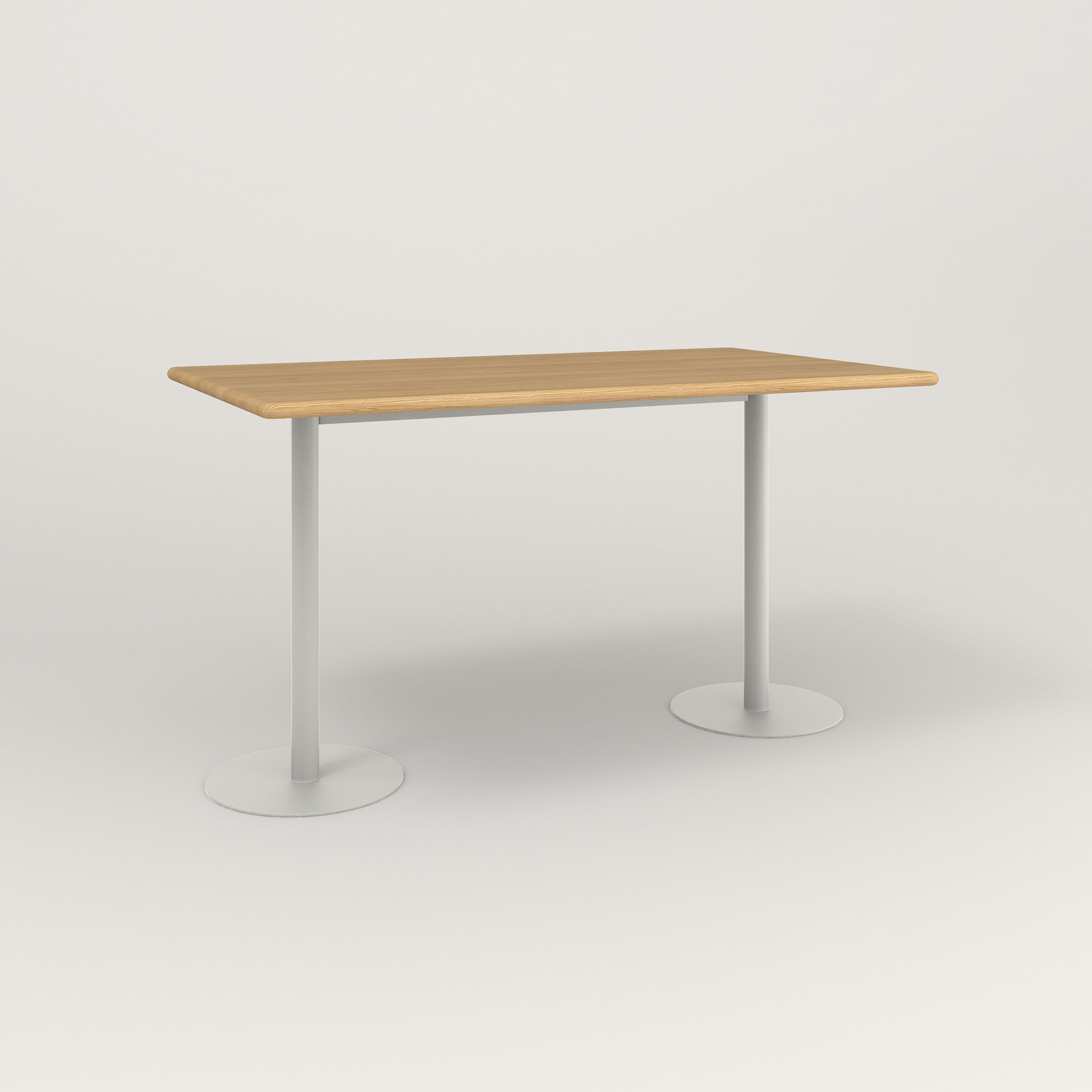 RAD Cafe Table, Rectangular Weighted Base T Leg in solid white oak and white powder coat.