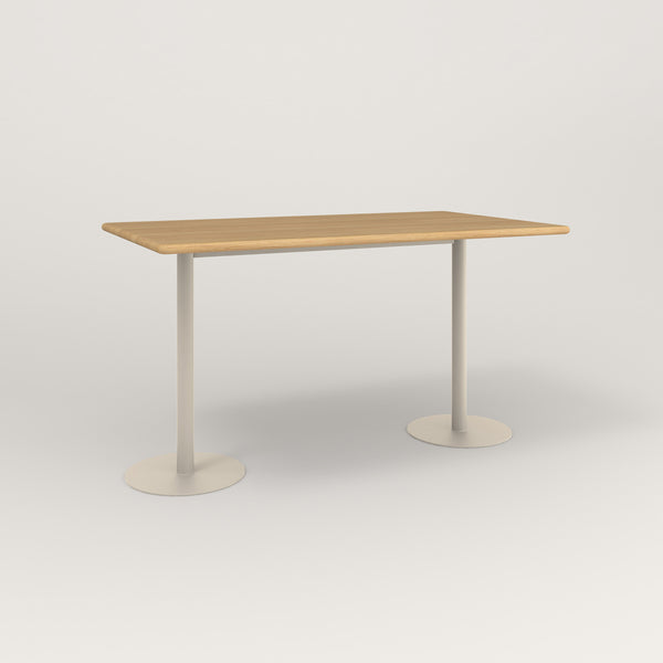 RAD Cafe Table, Rectangular Weighted Base T Leg in solid white oak and off-white powder coat.