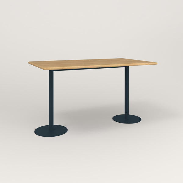 RAD Cafe Table, Rectangular Weighted Base T Leg in solid white oak and navy powder coat.