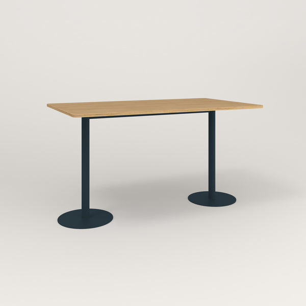 RAD Cafe Table, Rectangular Weighted Base T Leg in white oak europly and navy powder coat.