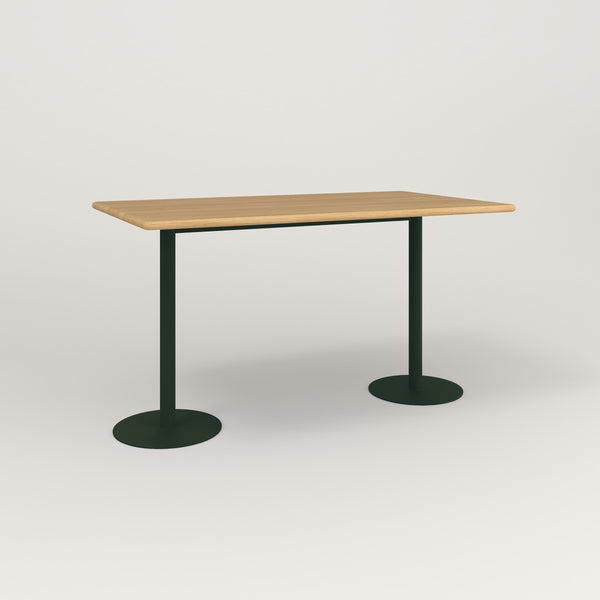 RAD Cafe Table, Rectangular Weighted Base T Leg in solid white oak and fir green powder coat.