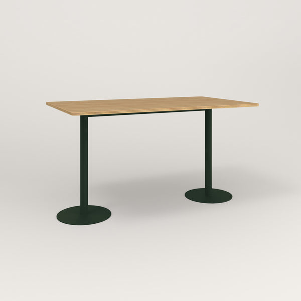 RAD Cafe Table, Rectangular Weighted Base T Leg in white oak europly and fir green powder coat.