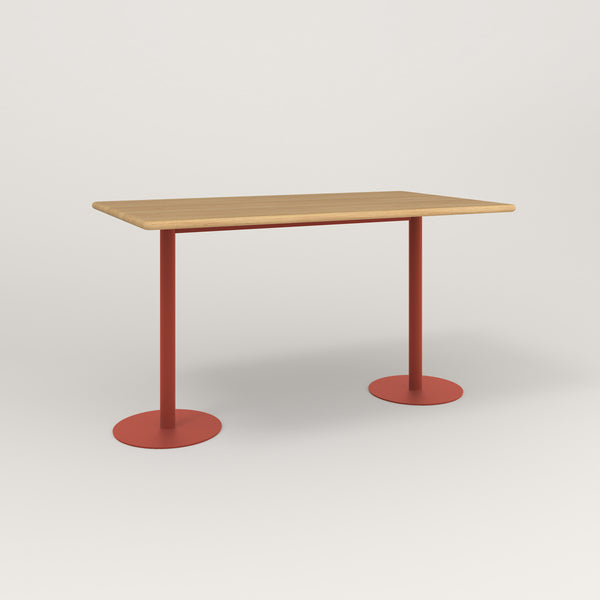 RAD Cafe Table, Rectangular Weighted Base T Leg in solid white oak and red powder coat.