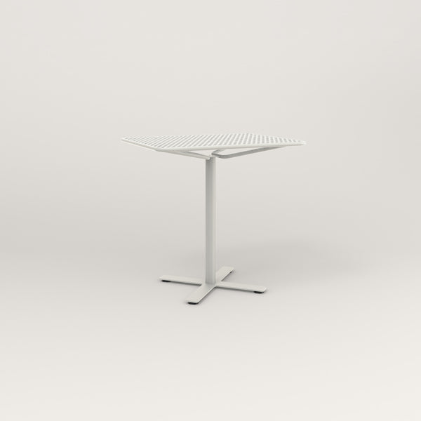 RAD Cafe Table, Rectangular X Base in perforated steel and white powder coat.