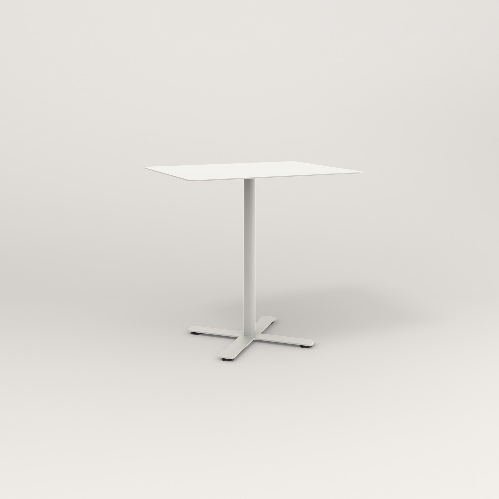 RAD Cafe Table, Rectangular X Base in aluminum and white powder coat.