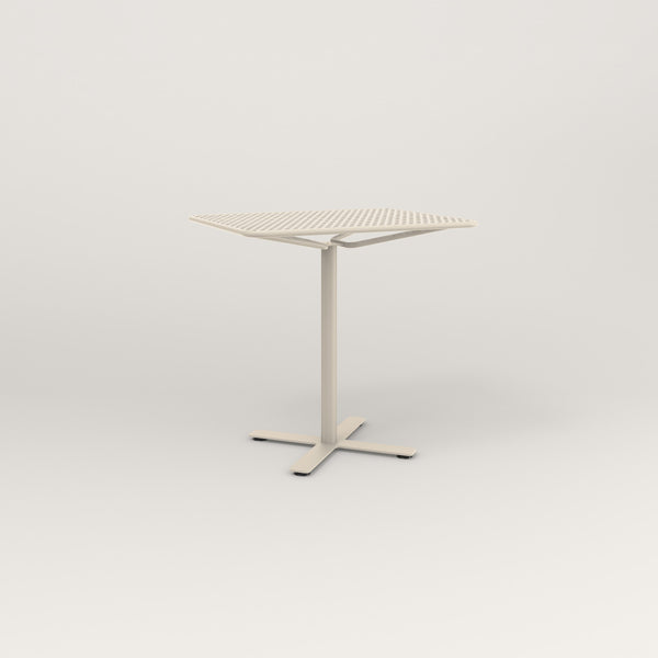 RAD Cafe Table, Rectangular X Base in perforated steel and off-white powder coat.