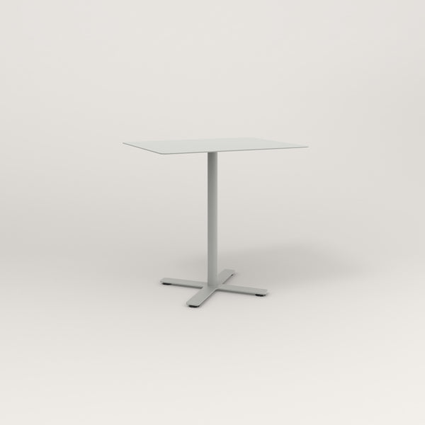 RAD Cafe Table, Rectangular X Base in aluminum and grey powder coat.