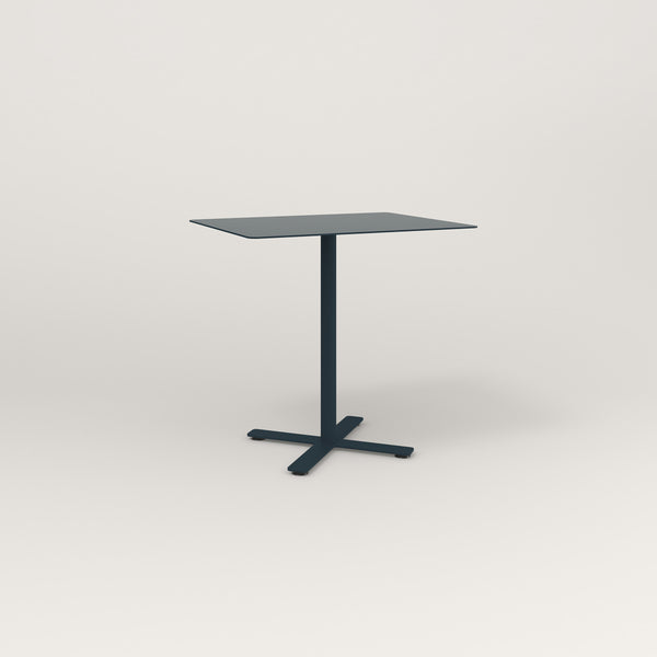 RAD Cafe Table, Rectangular X Base in aluminum and navy powder coat.