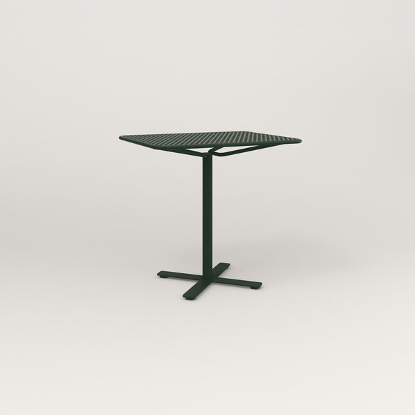 RAD Cafe Table, Rectangular X Base in perforated steel and fir green powder coat.