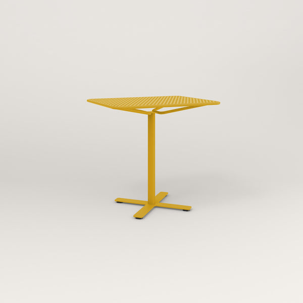 RAD Cafe Table, Rectangular X Base in perforated steel and yellow powder coat.