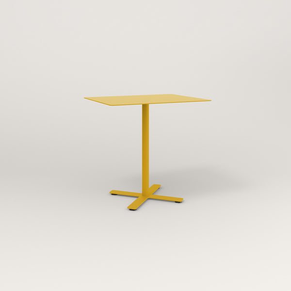 RAD Cafe Table, Rectangular X Base in aluminum and yellow powder coat.