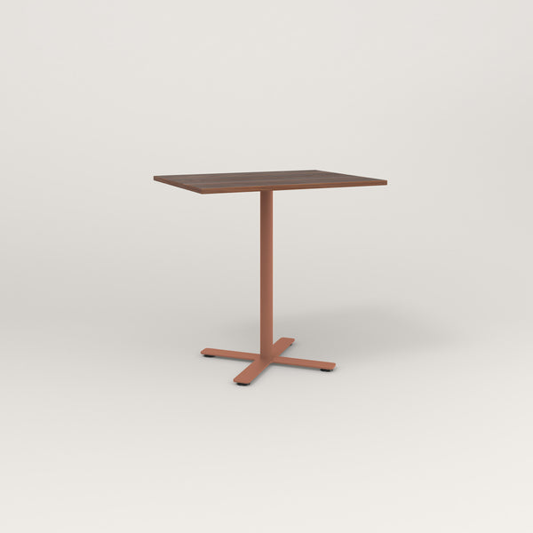 RAD Cafe Table, Rectangular X Base in slatted wood and coral powder coat.