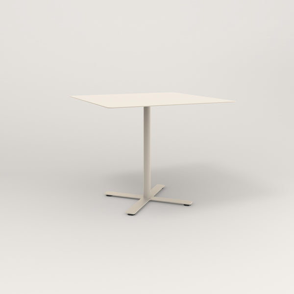 RAD Cafe Table, Rectangular X Base in aluminum and off-white powder coat.