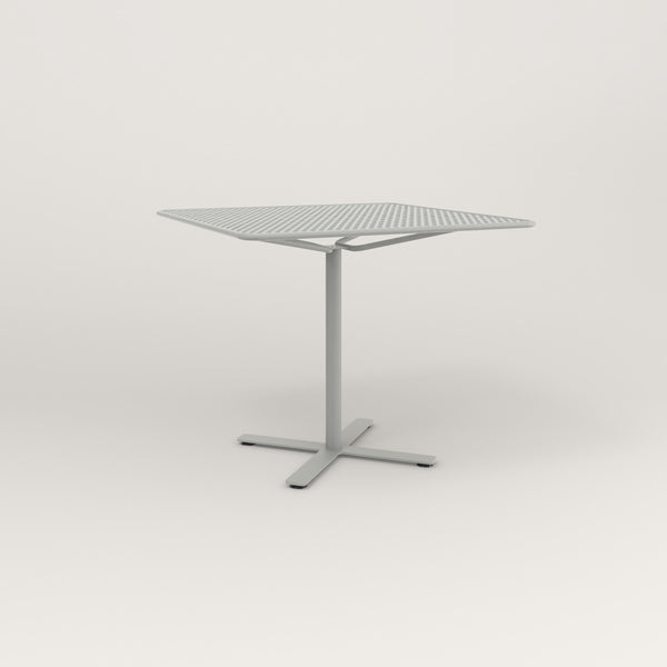RAD Cafe Table, Rectangular X Base in perforated steel and grey powder coat.