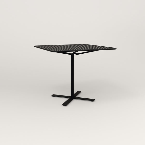 RAD Cafe Table, Rectangular X Base in perforated steel and black powder coat.