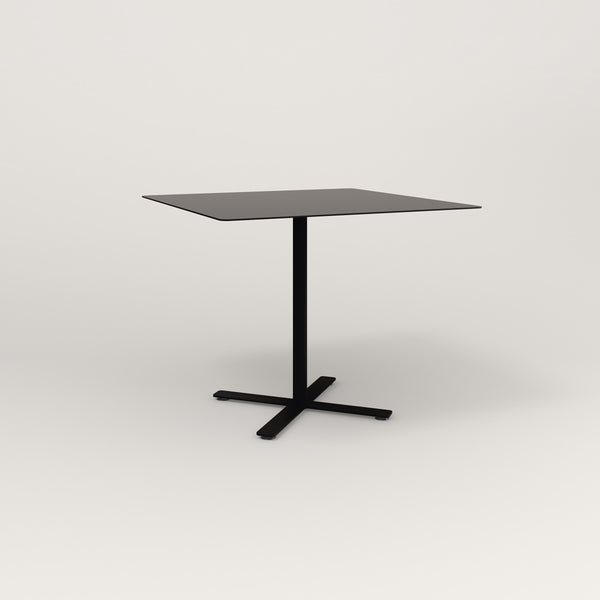 RAD Cafe Table, Rectangular X Base in aluminum and black powder coat.