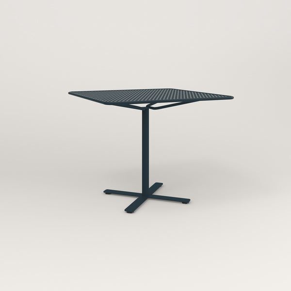 RAD Cafe Table, Rectangular X Base in perforated steel and navy powder coat.