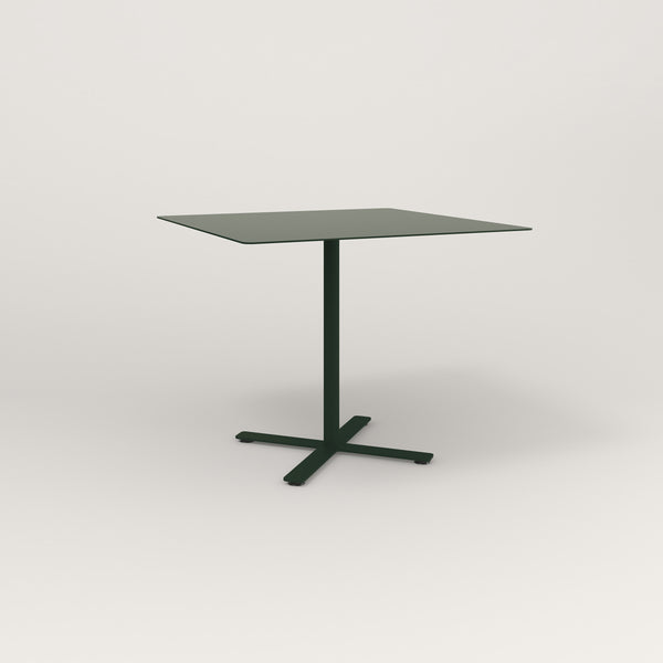 RAD Cafe Table, Rectangular X Base in aluminum and fir green powder coat.