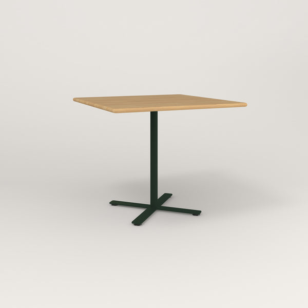 RAD Cafe Table, Rectangular X Base in solid white oak and fir green powder coat.