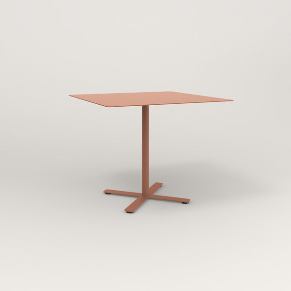 RAD Cafe Table, Rectangular X Base in aluminum and coral powder coat.